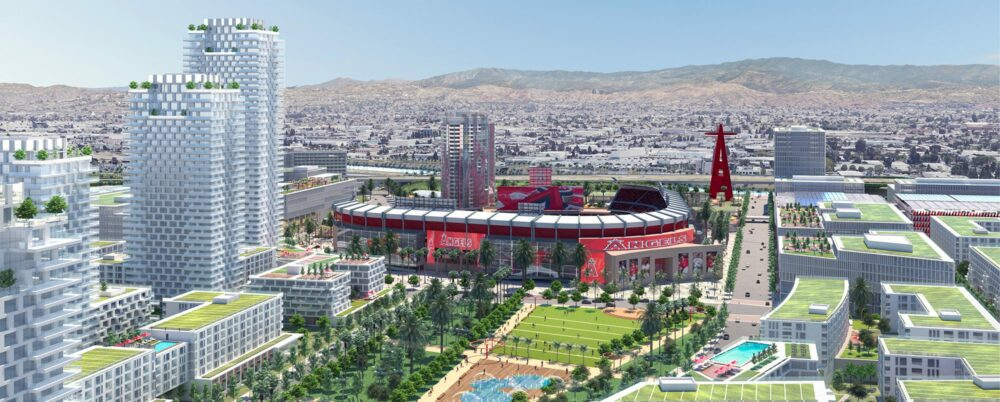 A rendering shows the look of planned development around Angel Stadium in Anaheim that is expected to include more than 5,000 homes, restaurants, shops and offices and a 7-acre public park. (Courtesy of SRB Management)