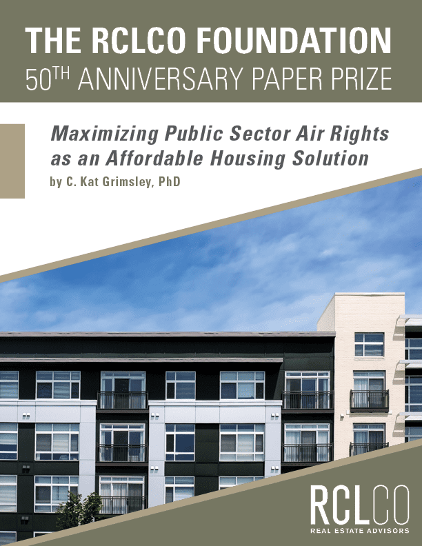 RCLCO Foundation Paper Prize Winner Cover