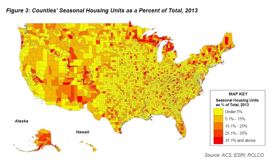 Counties' Seasonal Housing Units as a Percent of Total, 2013